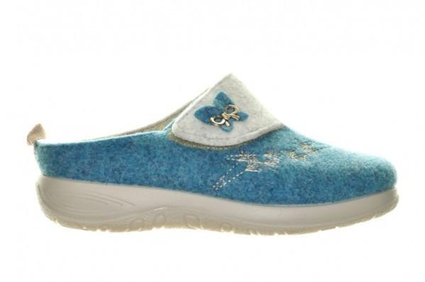Pantoffel Wol Steunzolen Azzurro