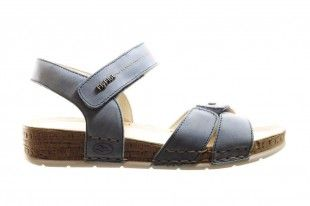 Blauwe Lederen Comfortabele Sandaal