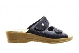 Blauwe Slipper Met Velcro En Glitters